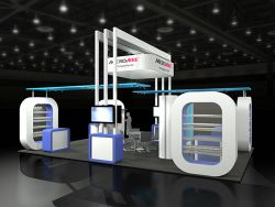Custom trade show exhibit structures, like design # 50058 stand out on the convention floor. Draw eyes to your trade show booth with exciting custom exhibits & displays. We can customize any trade show exhibit or display to your specifications.