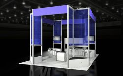 Custom trade show exhibit structures, like design # 51466 stand out on the convention floor. Draw eyes to your trade show booth with exciting custom exhibits & displays. We can customize any trade show exhibit or display to your specifications.