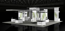 Custom trade show exhibit structures, like design # 54642 stand out on the convention floor. Draw eyes to your trade show booth with exciting custom exhibits & displays. We can customize any trade show exhibit or display to your specifications.