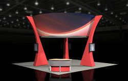 Custom trade show exhibit structures, like design # 54643 stand out on the convention floor. Draw eyes to your trade show booth with exciting custom exhibits & displays. We can customize any trade show exhibit or display to your specifications.