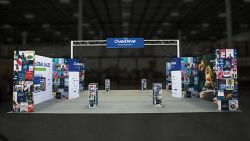 Custom trade show exhibit structures, like design # 601115 stand out on the convention floor. Draw eyes to your trade show booth with exciting custom exhibits & displays. We can customize any trade show exhibit or display to your specifications.