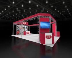 Custom trade show exhibit structures, like design # 60926 stand out on the convention floor. Draw eyes to your trade show booth with exciting custom exhibits & displays. We can customize any trade show exhibit or display to your specifications.