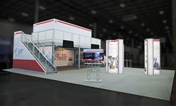 Custom trade show exhibit structures, like design # 639645 stand out on the convention floor. Draw eyes to your trade show booth with exciting custom exhibits & displays. We can customize any trade show exhibit or display to your specifications.