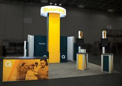 Custom trade show exhibit structures, like design # 647208 stand out on the convention floor. Draw eyes to your trade show booth with exciting custom exhibits & displays. We can customize any trade show exhibit or display to your specifications.