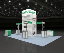 Custom trade show exhibit structures, like design # 65062 stand out on the convention floor. Draw eyes to your trade show booth with exciting custom exhibits & displays. We can customize any trade show exhibit or display to your specifications.