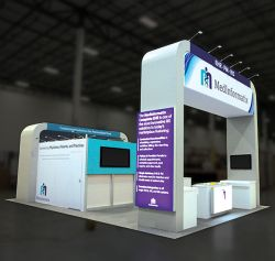 Custom trade show exhibit structures, like design # 659283 stand out on the convention floor. Draw eyes to your trade show booth with exciting custom exhibits & displays. We can customize any trade show exhibit or display to your specifications.