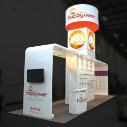 Custom trade show exhibit structures, like design # 681773 stand out on the convention floor. Draw eyes to your trade show booth with exciting custom exhibits & displays. We can customize any trade show exhibit or display to your specifications.