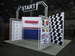 Custom trade show exhibit structures, like design # 697441 stand out on the convention floor. Draw eyes to your trade show booth with exciting custom exhibits & displays. We can customize any trade show exhibit or display to your specifications.