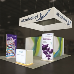 Custom trade show exhibit structures, like design # 698106 stand out on the convention floor. Draw eyes to your trade show booth with exciting custom exhibits & displays. We can customize any trade show exhibit or display to your specifications.