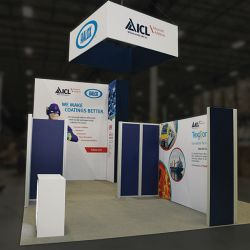 Custom trade show exhibit structures, like design # 698469 stand out on the convention floor. Draw eyes to your trade show booth with exciting custom exhibits & displays. We can customize any trade show exhibit or display to your specifications.