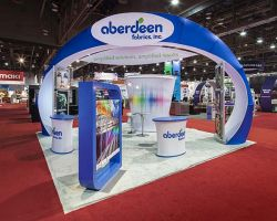 Custom trade show exhibit structures, like design # 100983V1 stand out on the convention floor. Draw eyes to your trade show booth with exciting custom exhibits & displays. We can customize any trade show exhibit or display to your specifications.