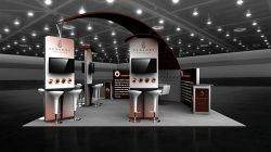 Custom trade show exhibit structures, like design # 101795V2 stand out on the convention floor. Draw eyes to your trade show booth with exciting custom exhibits & displays. We can customize any trade show exhibit or display to your specifications.