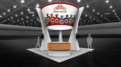 Custom trade show exhibit structures, like design # 104069V1A stand out on the convention floor. Draw eyes to your trade show booth with exciting custom exhibits & displays. We can customize any trade show exhibit or display to your specifications.