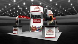 Custom trade show exhibit structures, like design # 104069V1B stand out on the convention floor. Draw eyes to your trade show booth with exciting custom exhibits & displays. We can customize any trade show exhibit or display to your specifications.