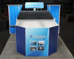Custom trade show exhibit structures, like design # 320018 stand out on the convention floor. Draw eyes to your trade show booth with exciting custom exhibits & displays. We can customize any trade show exhibit or display to your specifications.