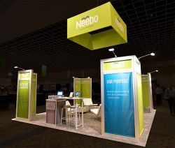 Custom trade show exhibit structures, like design # 320153 stand out on the convention floor. Draw eyes to your trade show booth with exciting custom exhibits & displays. We can customize any trade show exhibit or display to your specifications.