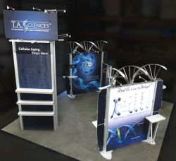 Custom trade show exhibit structures, like design # 324952 stand out on the convention floor. Draw eyes to your trade show booth with exciting custom exhibits & displays. We can customize any trade show exhibit or display to your specifications.