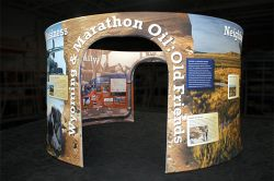 Custom trade show exhibit structures, like design # 325776 stand out on the convention floor. Draw eyes to your trade show booth with exciting custom exhibits & displays. We can customize any trade show exhibit or display to your specifications.