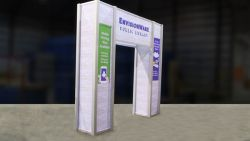 Custom trade show exhibit structures, like design # 325905 stand out on the convention floor. Draw eyes to your trade show booth with exciting custom exhibits & displays. We can customize any trade show exhibit or display to your specifications.