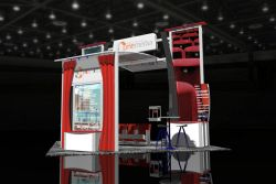 Custom trade show exhibit structures, like design # 42603 stand out on the convention floor. Draw eyes to your trade show booth with exciting custom exhibits & displays. We can customize any trade show exhibit or display to your specifications.