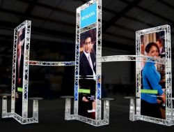 Custom trade show exhibit structures, like design # 50693 stand out on the convention floor. Draw eyes to your trade show booth with exciting custom exhibits & displays. We can customize any trade show exhibit or display to your specifications.