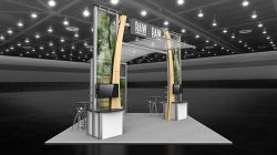 Custom trade show exhibit structures, like design # 51978 stand out on the convention floor. Draw eyes to your trade show booth with exciting custom exhibits & displays. We can customize any trade show exhibit or display to your specifications.