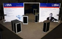 Custom trade show exhibit structures, like design # 56444 stand out on the convention floor. Draw eyes to your trade show booth with exciting custom exhibits & displays. We can customize any trade show exhibit or display to your specifications.