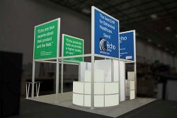 Custom trade show exhibit structures, like design # 592699 stand out on the convention floor. Draw eyes to your trade show booth with exciting custom exhibits & displays. We can customize any trade show exhibit or display to your specifications.