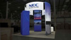 Custom trade show exhibit structures, like design # 596883 stand out on the convention floor. Draw eyes to your trade show booth with exciting custom exhibits & displays. We can customize any trade show exhibit or display to your specifications.
