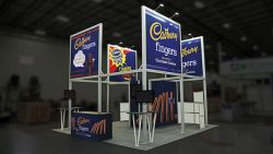 Custom trade show exhibit structures, like design # 603181 stand out on the convention floor. Draw eyes to your trade show booth with exciting custom exhibits & displays. We can customize any trade show exhibit or display to your specifications.