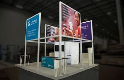 Custom trade show exhibit structures, like design # 606143 stand out on the convention floor. Draw eyes to your trade show booth with exciting custom exhibits & displays. We can customize any trade show exhibit or display to your specifications.