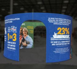 Custom trade show exhibit structures, like design # 623993 stand out on the convention floor. Draw eyes to your trade show booth with exciting custom exhibits & displays. We can customize any trade show exhibit or display to your specifications.
