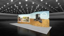 Custom trade show exhibit structures, like design # 107386V1 stand out on the convention floor. Draw eyes to your trade show booth with exciting custom exhibits & displays. We can customize any trade show exhibit or display to your specifications.