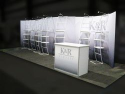 Custom trade show exhibit structures, like design # 325564 stand out on the convention floor. Draw eyes to your trade show booth with exciting custom exhibits & displays. We can customize any trade show exhibit or display to your specifications.