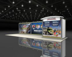 Custom trade show exhibit structures, like design # 60664 stand out on the convention floor. Draw eyes to your trade show booth with exciting custom exhibits & displays. We can customize any trade show exhibit or display to your specifications.