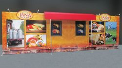 Custom trade show exhibit structures, like design # 69405R2 stand out on the convention floor. Draw eyes to your trade show booth with exciting custom exhibits & displays. We can customize any trade show exhibit or display to your specifications.
