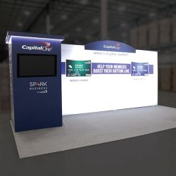 Custom trade show exhibit structures, like design # 0739906 stand out on the convention floor. Draw eyes to your trade show booth with exciting custom exhibits & displays. We can customize any trade show exhibit or display to your specifications.