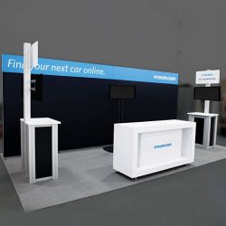 Custom trade show exhibit structures, like design # 0743704 stand out on the convention floor. Draw eyes to your trade show booth with exciting custom exhibits & displays. We can customize any trade show exhibit or display to your specifications.
