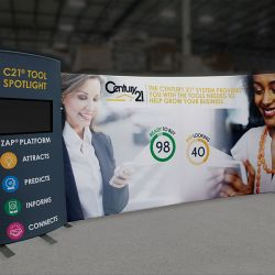 Custom trade show exhibit structures, like design # 0744984 stand out on the convention floor. Draw eyes to your trade show booth with exciting custom exhibits & displays. We can customize any trade show exhibit or display to your specifications.