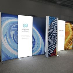 Custom trade show exhibit structures, like design # 0746258 stand out on the convention floor. Draw eyes to your trade show booth with exciting custom exhibits & displays. We can customize any trade show exhibit or display to your specifications.