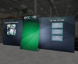Custom trade show exhibit structures, like design # 0746869 stand out on the convention floor. Draw eyes to your trade show booth with exciting custom exhibits & displays. We can customize any trade show exhibit or display to your specifications.