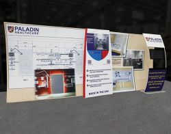 Custom trade show exhibit structures, like design # 0747628 stand out on the convention floor. Draw eyes to your trade show booth with exciting custom exhibits & displays. We can customize any trade show exhibit or display to your specifications.