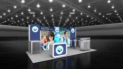 Custom trade show exhibit structures, like design # 100840V1 stand out on the convention floor. Draw eyes to your trade show booth with exciting custom exhibits & displays. We can customize any trade show exhibit or display to your specifications.