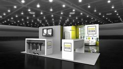 Custom trade show exhibit structures, like design # 100960V1 stand out on the convention floor. Draw eyes to your trade show booth with exciting custom exhibits & displays. We can customize any trade show exhibit or display to your specifications.