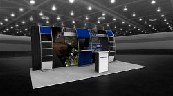 Custom trade show exhibit structures, like design # 103220V1D stand out on the convention floor. Draw eyes to your trade show booth with exciting custom exhibits & displays. We can customize any trade show exhibit or display to your specifications.