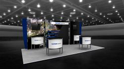 Custom trade show exhibit structures, like design # 103220V1E stand out on the convention floor. Draw eyes to your trade show booth with exciting custom exhibits & displays. We can customize any trade show exhibit or display to your specifications.