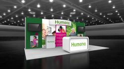 Custom trade show exhibit structures, like design # 104216V2 stand out on the convention floor. Draw eyes to your trade show booth with exciting custom exhibits & displays. We can customize any trade show exhibit or display to your specifications.