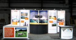 Custom trade show exhibit structures, like design # 318940 stand out on the convention floor. Draw eyes to your trade show booth with exciting custom exhibits & displays. We can customize any trade show exhibit or display to your specifications.