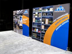 Custom trade show exhibit structures, like design # 319519 stand out on the convention floor. Draw eyes to your trade show booth with exciting custom exhibits & displays. We can customize any trade show exhibit or display to your specifications.