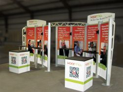 Custom trade show exhibit structures, like design # 324057 stand out on the convention floor. Draw eyes to your trade show booth with exciting custom exhibits & displays. We can customize any trade show exhibit or display to your specifications.